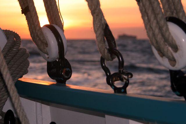 Coucher de soleil depuis le voilier où l'on s'est rencontré