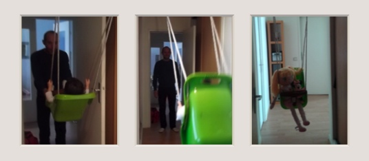 On a install une balan oire dans notre couloir working - Balancoire bebe interieur ...
