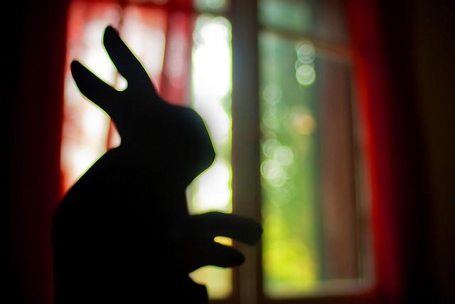 Lapin réalisé avec deux mains en ombre chinoise